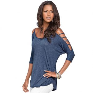 Three Quarter Hollow Out Sleeve Loose T-Shirt Blue