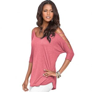 Three Quarter Hollow Out Sleeve Loose T-Shirt Pink