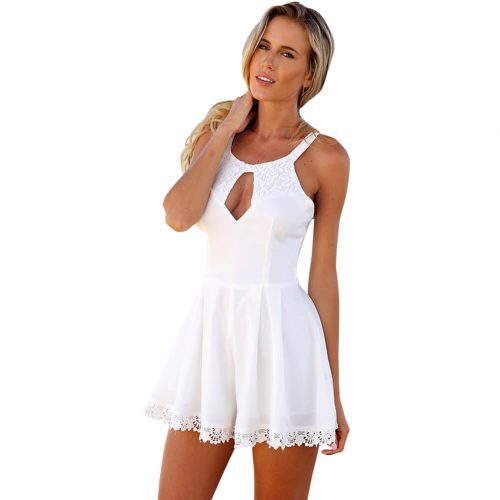 Hollow Out Sleeveless Above Knee Dress White