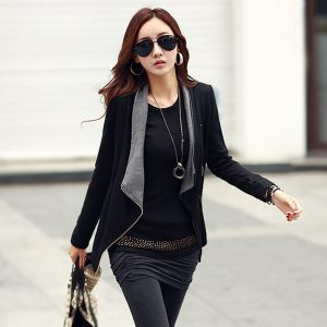 Casual Cotton Jacket With Pockets Black