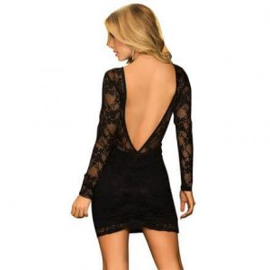 Black Sexy Lace Backless Party Dress Black